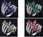Size 7,8,9,10 Jewelry Woman's 10KT White Gold Filled Ring Gift Sapphire/Emerald