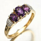 Size 7,8,9 Jewelry Art Purple Amethyst Woman's 10KT Yellow Gold Filled Ring Gift