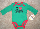 NWT: New Carter's Green & Red 'I Love Santa' Christmas Body Suit Shirt, Newborn