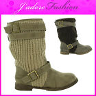 NEW LADIES BUCKLE STYLISH RUNCHED KNITTED LONG MID CALF COWBOY BOOTS SIZE UK 3-8
