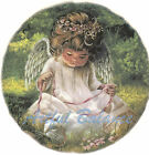 Ceramic Decals Little Angel Girl in Pink With Bunny