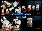 10 x TINY DOLL'S HOUSE JOINTED TEDDY BEAR MOBILE CHARM JEWELS DIAMONTE 4cm TALL