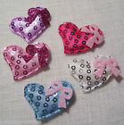 LOT de 5 EMBELLISSEMENTS COEURS SEQUIN & NOEUD 33x30mm - Scrapbooking, carterie