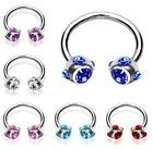 New Surgical Steel Horseshoe Barbell with Gem Set Balls Tragus Labret Stud