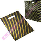 """NEW SMALL BLACK + GOLD PLASTIC CARRIER BAGS 7.5 x 10"""" *MULTI ITEM LISTING*"""