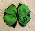 Apple Green and Black Monogram Hair Bow
