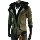 (LCJ) TheLees Mens Slim Fit Double Zipper Multi Pocket Cotton Hood Jacket
