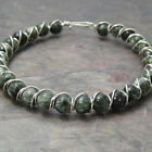 Seraphinite Clinochlore Beaded Sterling Silver Wire Wrapped Bracelet