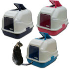 IMAC Hooded Cat Litter Tray with Filter Flap & Scoop - Cyan, Dark Blue or Pink