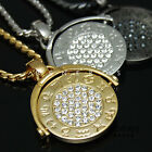 Zodiac Horoscope Pendant Chain Necklace 18k Gold & Silver Plated Mens Jewelry CZ