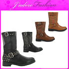 NEW LADIES LOW  HEELS STUDDED RIDING BIKER BUCKLE MID CALF BOOTS SIZES UK 3-8