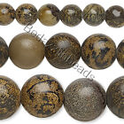 Lot of 10, 16 inch Strands Round Brown Landscape Stone Natural Gemstone Beads
