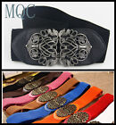 Lady Fashion Wide Elastic Stretchy Metallic Carve Design Belt