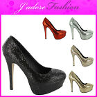 NEW LADIES HIGH HEEL STILETTO SPARKLY SHIMMER PLATFORM COURT SHOES UK 3-8