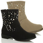 WOMENS LADIES LOW HEEL PULL ON COWBOY ANKLE STUDDED STUDS BOOTS BOOTIES SIZE