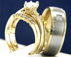 0.95 CT CZ Stainless Steel Women's Engagement Wedding Bridal Men's Band Ring Set