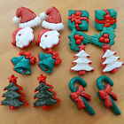 5 X NOVELTY christmas buttons holly santa penquin present bells shank on back