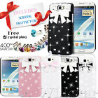 CRYSTAL DIAMOND BOW HARD CASE COVER FOR SAMSUNG GALAXY NOTE  2 N7100 FREE FILM