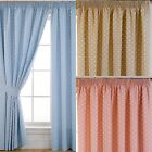 DOTTY BLACKOUT POLKA DOT LINED TAPE TOP CURTAINS PENCIL PLEAT CURTAIN PAIRS