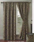 2 Pocket Rod Curtain Panels 76 X 84 Rope Tiebacks Garden Scroll Sage Ivory Red