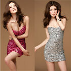 Ladies Sexy Sequin Strapless Padded Party Cocktail Evening Club Short Dress