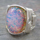 Yellow Pink Foil Opal Glass Cabochon Sterling Silver Wire Wrapped Ring ANY Size