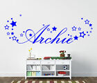Personalised boys name sticker with stars for bedroom wall