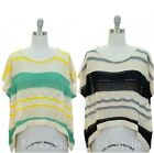 Women High Hi Low Open Knit Weave CROCHET Boho Sweater Slouchy Drape Box Tee Top
