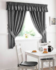 Gingham Check Kitchen Curtains - Black Ready Made Pencil Pleat Net Curtain Set