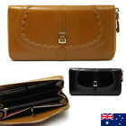 Soft Genuine Leather Double Zip Ladies Womens Bifold Wallet iPhon Purse Coins