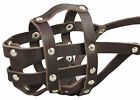 "Real Leather Dog Basket Muzzle #104 Amstaff 11.8""-3"" snout size"