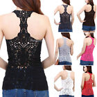 Womens Sexy Crochet Hollow Out Lace Racer Back Sleeveless Vest Cami Tank Top