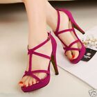 Women Gorgeous High Heels Stiletto X-straps Hollow Shoes Sandal Pink Leopard 1ng