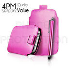 Premium PU Leather Pull Tab Pouch Case Cover & Stylus For Various Nokia Phones