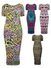 Womens Plus Size Printed Midi Dress Short Sleeved Ladies New Sized UK 16-28