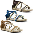 New Ladies Ankle Strappy Zip Up Roman Open Toe Straw Gladiator Sandals UK 3-8
