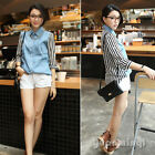 Fashion Women Half Sleeve Striped Patchwork Button Size S M Shirt Top Blouse Hot