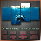 ' Jaws ' Modern Abstract Movie WallArt Canvas Box ~ 4 Panels