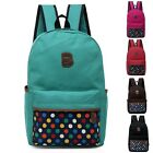 New young Girl Dots Print Canvas Sports Travel Backpack Shoulders Bag Schoolbag