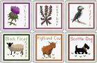 COASTER Cross Stitch Kits - Scottish Thistle, Heather, Sheep, Cow, Dog & Puffin