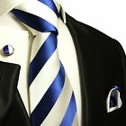 405CH/ Silk Necktie Set by Paul Malone . Royal Blue and White Stripes