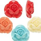 Big Plastic Acrylic Resin Rose Flower Focal Bead Top Drilled for Charm / Pendant