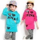 Girls Outfit 4-9Y Casual Hoodies Top Shirt Leggings Pants Skirt 2Pcs Set Clothes