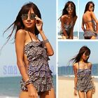 Women Halter Stretch Leopard Layer Ruffle Tankini Monokini Swimsuit Swimwear hot