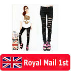 Sz 8-16 Womens Cut-out Punk Ripped Pants Skinny Jeans Jeggings Trousers Black