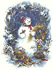 Ceramic Decals Snowman & Animal Friends Scene Winter Snow Birds Deer