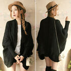Warm Style Lady Loose Batwing Swallow-tailed Sweater Coat Knit Cardigan Outwear