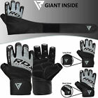 RDX Gel Weight Lifting Body Building Gloves Leather Gym Strap Training Fitness