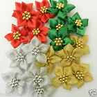 5 x gold silver red or green  flower poinsetta christmas bows  40mm approx