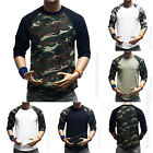 Men's T-Shirt 3/4 Sleeve Camo Baseball Tee Raglan Sports Fashion Crew Neck S-3XL